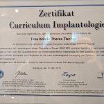 Zertifikat Curriculum Implantologie Kristin-Theres Tischer